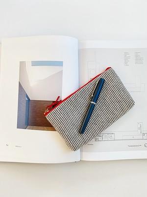 手織りロングポーチ ピンストライプ(HAND WOVEN Long case 20cm Pinstripe )