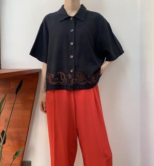 UNIFORM JohnPaulRichard linen×rayon paisley embroidery shirt 【XL】