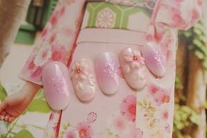 【送料無料】イチゴ色桜3Dネイルチップ