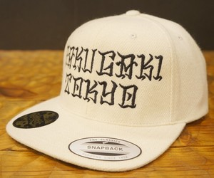 RAKUGAKI2017 Melton Wool Japanese Brush Logo SnapBack Cap Natural x Black