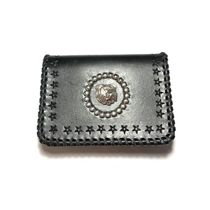 CONSIGLIERE/コンシリエーレ Star leather card case with bulldog/Black