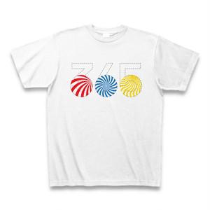 ポップな赤・青・黄365TシャツB(うずまき)
