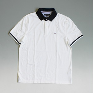 【SALE】【メール便全国送料無料】TOMMY HILFIGER トミーヒルフィガー COUPE SUR MESURE POLO ワンポイント ポロシャツ 襟裏フラッグロゴ グログランテープ ホワイト