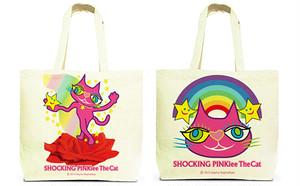 両面デザイン・トートバッグ(Lサイズ): 猫のショッキングピンキー/ 魔法の赤い薔薇 & レインボーワンダーランド