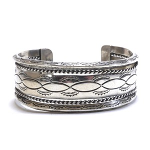 Navajo Vintage Sterling Silver Combination Stamp Bangle