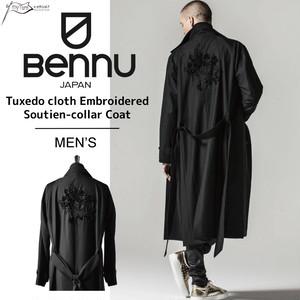 【BENNU】Tuxedo cloth Embroidered Soutien-collar Coat/ブラック