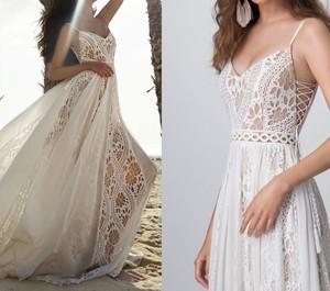 ウェディングドレス BOHO ボヘミアン 鍵編み レース キャミソール ドレス