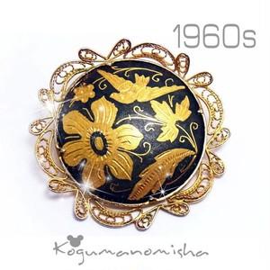 スペイン ダマスク 象嵌★花鳥 インレイ フィリグリー フレーム ヴィンテージ ブローチ 1960s