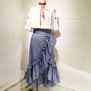 Stripe Cotton Frille Skirt