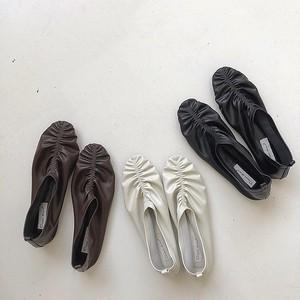 3color : Gathers Shoes 92050 ギャザー フラットシューズ スリッポン