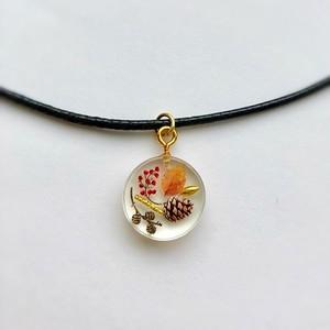 和風チョーカーネックレス 秋のミニチュア世界 Japanese style choker necklace Autumn miniature world
