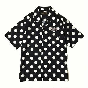 "DUCKTAIL CLOTHING POLKA DOT OPEN COLLAR SHIRT ""VACATION"" BLACK ダックテイル クロージング ドット柄 半袖 オープンカラーシャツ"