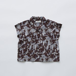 eLfinFolk Leaf paisley open collar shirts (burgundy) 110 120 130  elf-211F25 ※メール便1点までOK