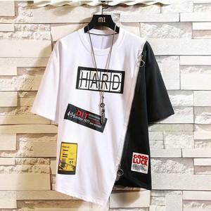 【メンズファッション】今年っぽい ファッション 通販 切り替え アップリケ ジッパー 半袖 Tシャツ47355639