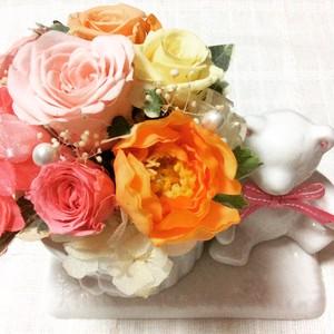 くま・うさぎアニマルポット たくさんお花♪