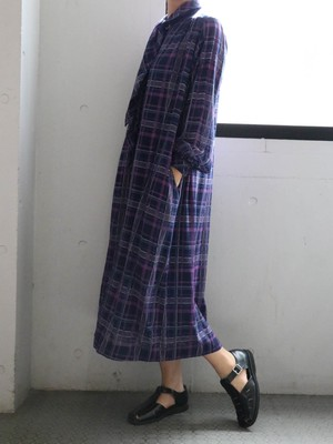 70's purple check dress