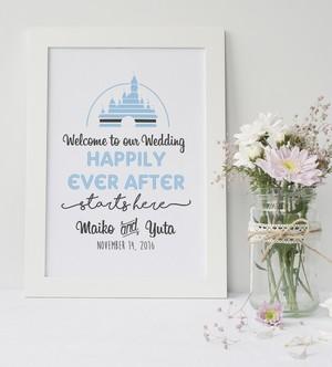 【Happily Ever After】 ウェルカムボード │インテリア 結婚祝い フェアリーテイルウェディング