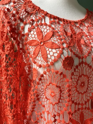 red  crochet  knit  dress