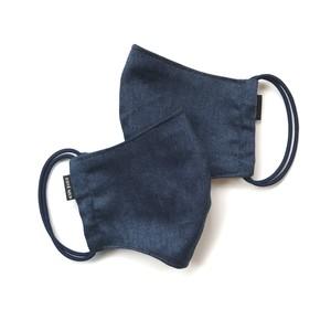 【新作夏用プリントデニムマスク2枚セット 吸水速乾COOLMAX使用 日本製】インディゴ色