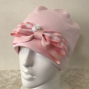 お花とギンガムチェックリボンのケア帽子 ピンク⑦