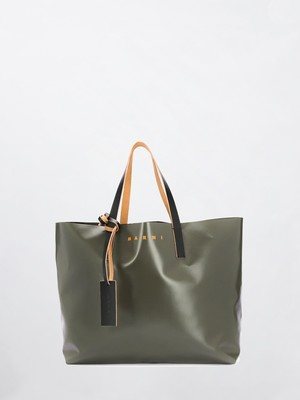 MARNI PVC Big Tote Bag Mosstone+Coffee+Black SHMQ0010A0