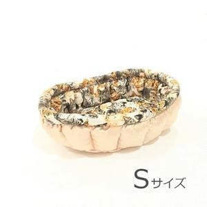ふーじこちゃんママ手作り ぽんぽんベッド (サテンシャンパン・猫柄) Sサイズ 【PB19-085S】