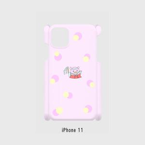 iPhone 11~iPhone6/6s/7/8 対応 側面表面印刷 スマホケース ピンク 巫女ぷくちゃん