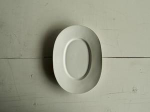 ワイドリムオーバル皿   白マット釉
