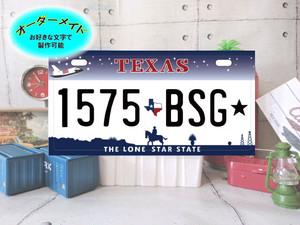 [文字変更可] TEXAS ナンバーサイズ お好きな文字で 表札 看板 名前 アルミ 誕生日 プレゼント アメリカ オリジナル