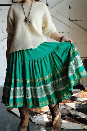 40s Mexico patio skirt green