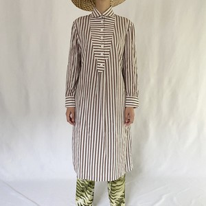 70's | stripe shirt  dress (V5102A)