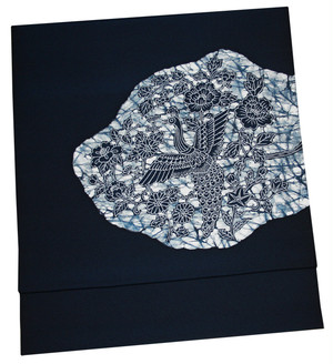 染名古屋帯 「蝋纈氷割れ・鳥更紗模様」 未仕立て品 モデル着用品
