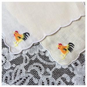 ヴィンテージリネン 刺繍クロス ミニクロス  スカラップ ニワトリ 2枚セット