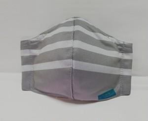 冷感マスク ボーダー グレー✕ホワイト Mサイズ