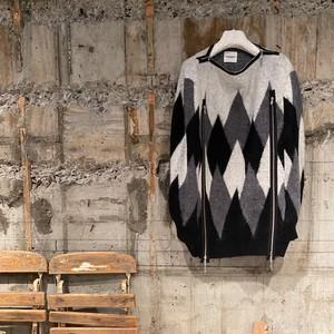 TAKAHIROMIYASHITA The SoloIst.【タカヒロミヤシタ ザ ソロイスト】boat neck argyle cape.(sk.0001dAW21. black/gray/white ).