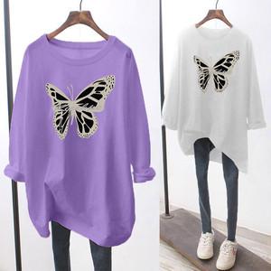 【トップス】女子力UPシンプルラウンドネックプリント動物柄プルオーバー長袖Tシャツ35173971