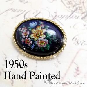 手描きのお花★ネイビー カボッションガラス ヴィンテージ ブローチ 1950s