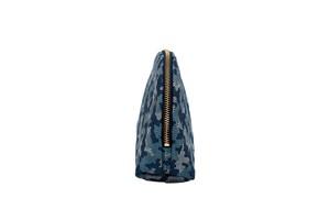 Atelier Kyoto Nishijin/西陣織シルク・シェル型ポーチ・京組紐引手・迷彩グレンチェック・ブルー迷彩・日本製