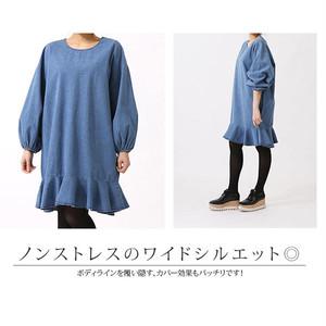 【レディース】パフスリーブ&裾フレア デニムワンピース 全2色