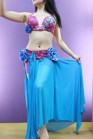 エジプト製ベリーダンス衣装 ブルー&ピンク