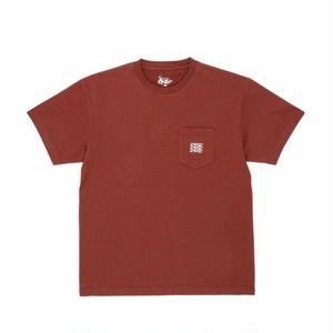 DANCER Embroided Triple Logo Pocket Tee Rust Brown XL
