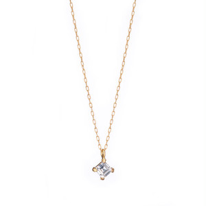 4mm Zirconia Square 45°- 4 Claw Necklace