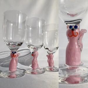 招き猫ゴブレット/ピンクの猫