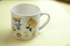 パンと犬のミニマグカップ