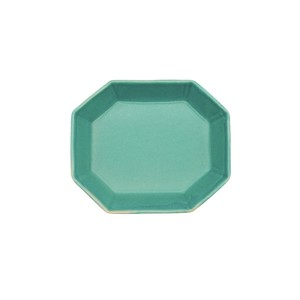 笠間焼 向山窯 ベリル プレート 皿 S 約12.5×10.5cm トルコブルー 255794