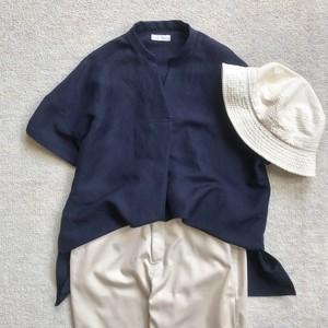 リネンレーヨンスキッパーシャツ/ネイビー