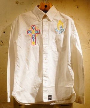 RAKUGAKI NEON Embroidery OX Ford Shirts White × Multi