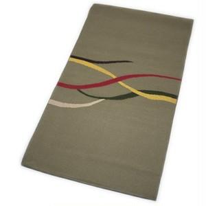 なごや帯 正絹 仕立て上がり 八寸 名古屋帯 紬 変り織 手織袋名古屋帯(カーキ系) [001017o]