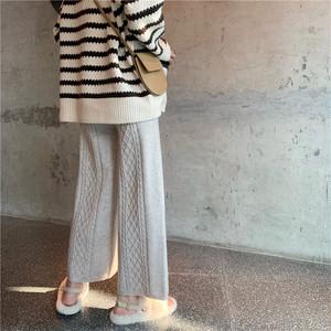 〈カフェシリーズ〉ストレートニットパンツ【street knit pants】