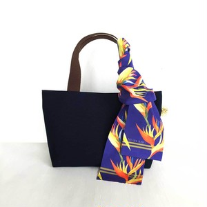トート & リボンスカーフ「トロピカル・パープルブルー」帆布バッグ・ネイビー